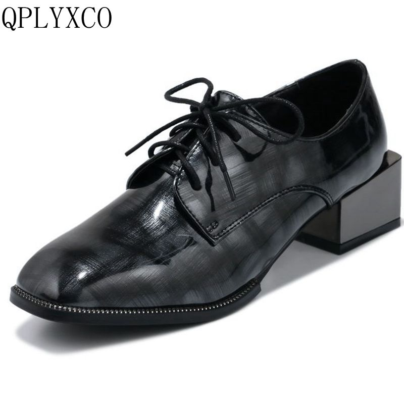 QPLYXCO 2017 New hot Sale super big and Small size 32-48 Genuine Leather Women Square Toe  lace up party wedding shoes 7616-3 qplyxco 2017 sale big