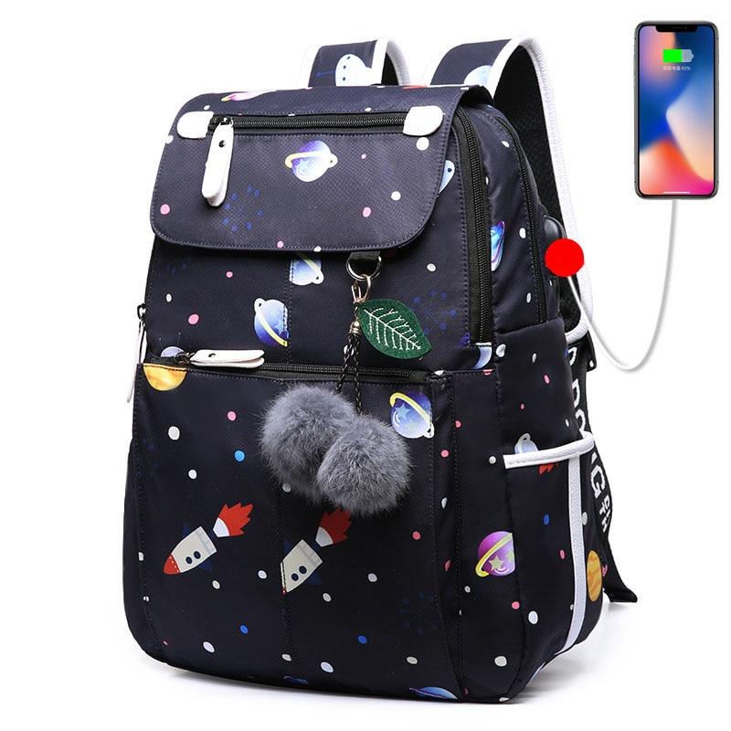 Sports 3pcs Backpack Women Girl Canvas Travel Bookbags School Bags Outdoor AI
