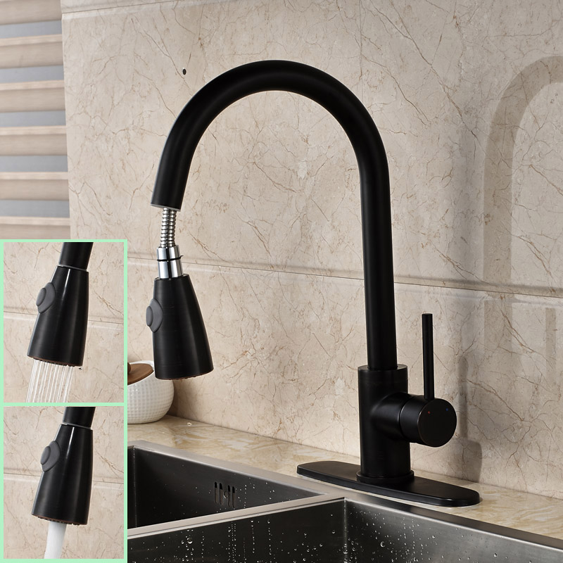 Oil Rubbed Black Pull Down Sprayer Kitchen Sink Faucet Contemporary Deck Mounted Single Hole Kitchen Mixer