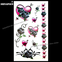 SHNAPIGN Rose Arrow corazón tatuaje temporal arte corporal brazo Flash tatuaje pegatinas 17*10cm impermeable Henna falso calcomanía sin dolor(China)