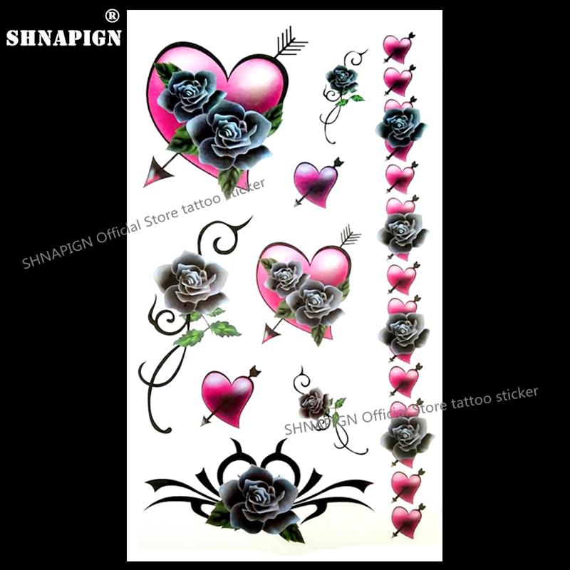 52d4b294590b3 SHNAPIGN Rose Arrow Heart Temporary Tattoo Body Art Arm Flash Tattoo  Stickers 17*10cm Waterproof Fake Henna Painless Sticker