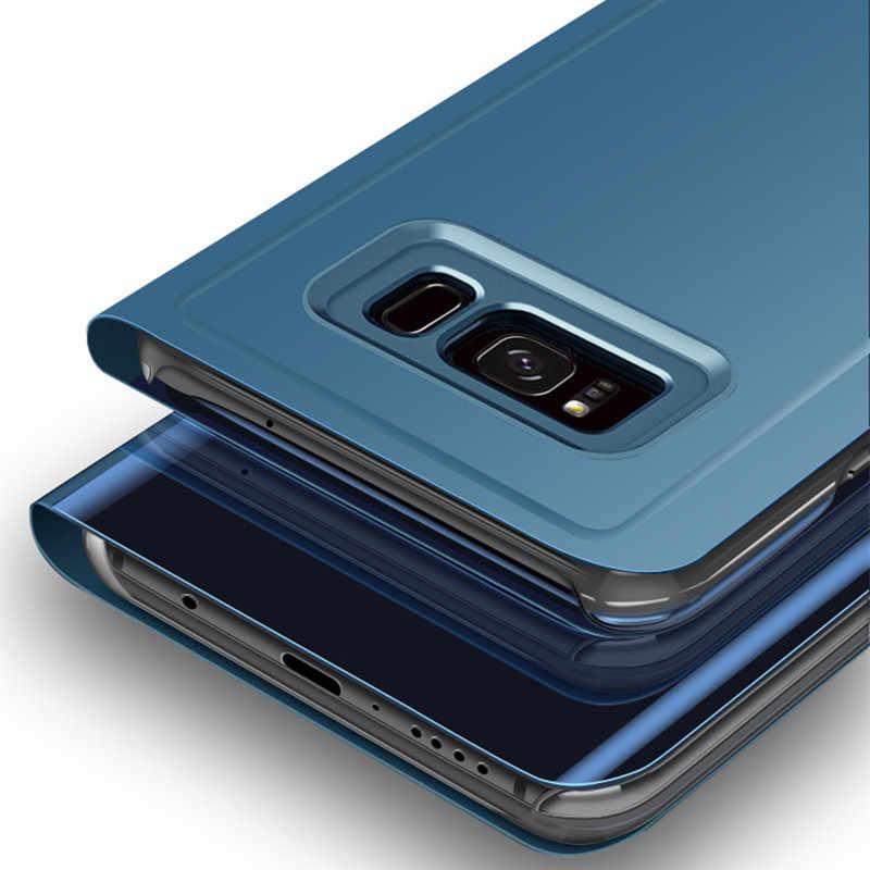 Многослойное стекло отражающим стеклом смарт-чехол для samsung S8 S9 S10 Plus Note 3 4 5 9 8 S7 S6 край S10E кожаный чехол с откидной крышкой для samsung A6 A7 A8 2018