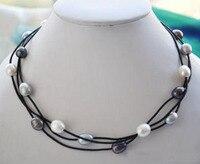 Elegant Handmade Real Pearl Jewelry 3row 18 10 14mm White Gray Black Rice Freshwater Pearl Black