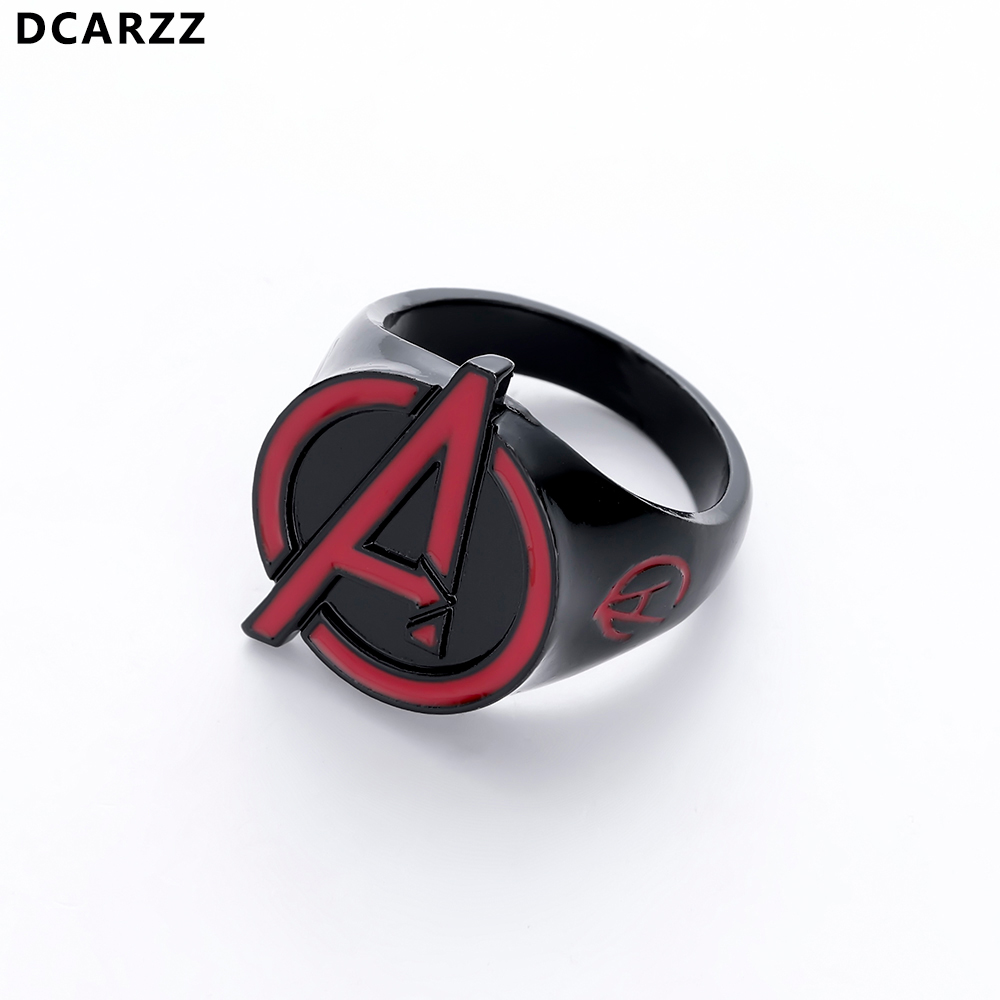 The Avenger Alliance Logo Black Ring Men Punk Vintage Rings Superman Jewelry Christmas Gift for Man