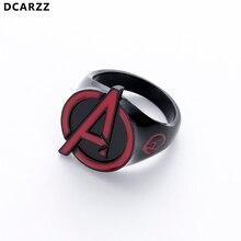 El logotipo de la Alianza Avenger anillo negro hombres Punk Vintage anillos Superman joyería regalo de Navidad para hombre