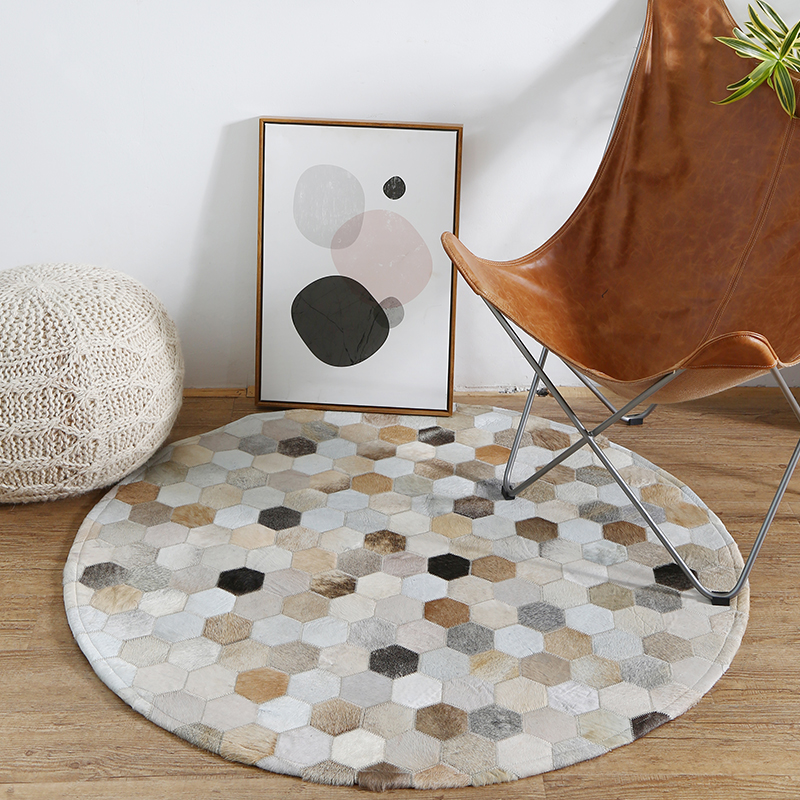 Awesome Us 287 0 18 Off White And Black Handmade Cowhide Circular Carpet Kids Room Study Computer Chair Living Room Coffee Table Mat Bedroom Bedside Rug In Gmtry Best Dining Table And Chair Ideas Images Gmtryco
