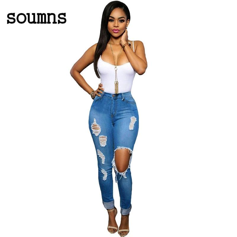 ФОТО Evaless Casual Ladies Slim Pencil Hole Pants LC78644 Fashion 2016 denim pants Glistening ripped skinny jeans for women