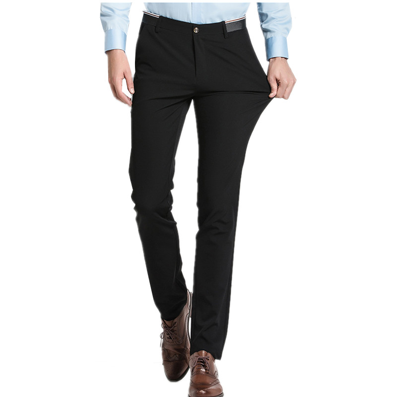 83f22e5d Pure Color Small Stretch Men's Trousers 28 29 30 31 32 33 36 38 Black Navy  Blue Fashion Business Casual Man Pants Slim Elegant