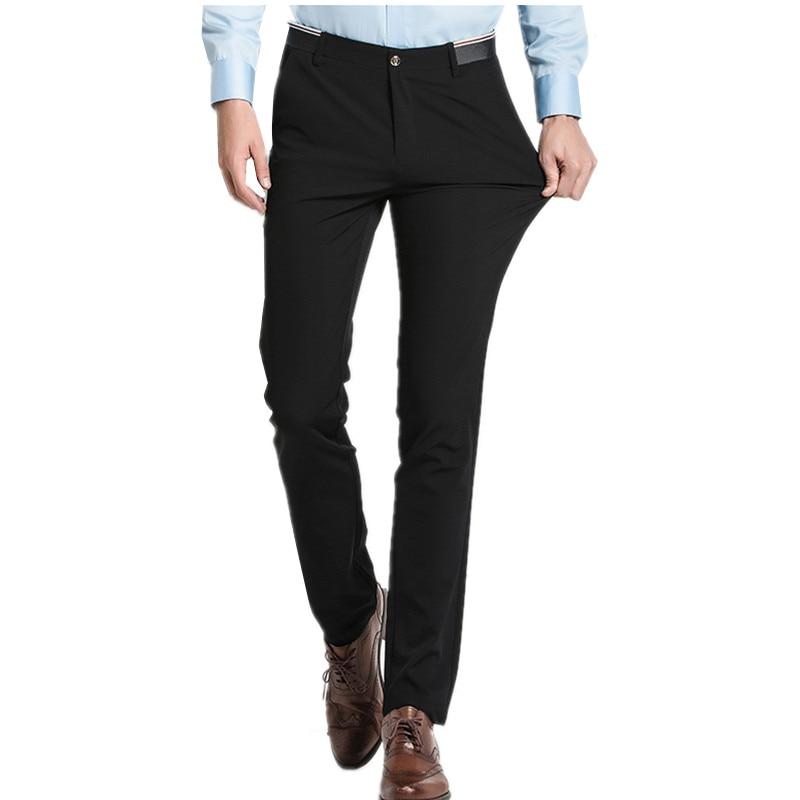 Pure Color Small Stretch Men's Trousers  28 29 30 31 32 33 36 38 Black Navy Blue Fashion Business Casual Man Pants Slim Elegant