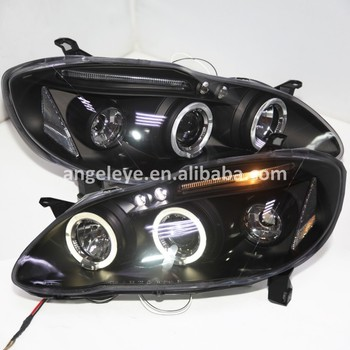 LED Head lights For TOYOTA Corolla Altis  2001-2006 year LED Angel Eyes head lamp front light JY