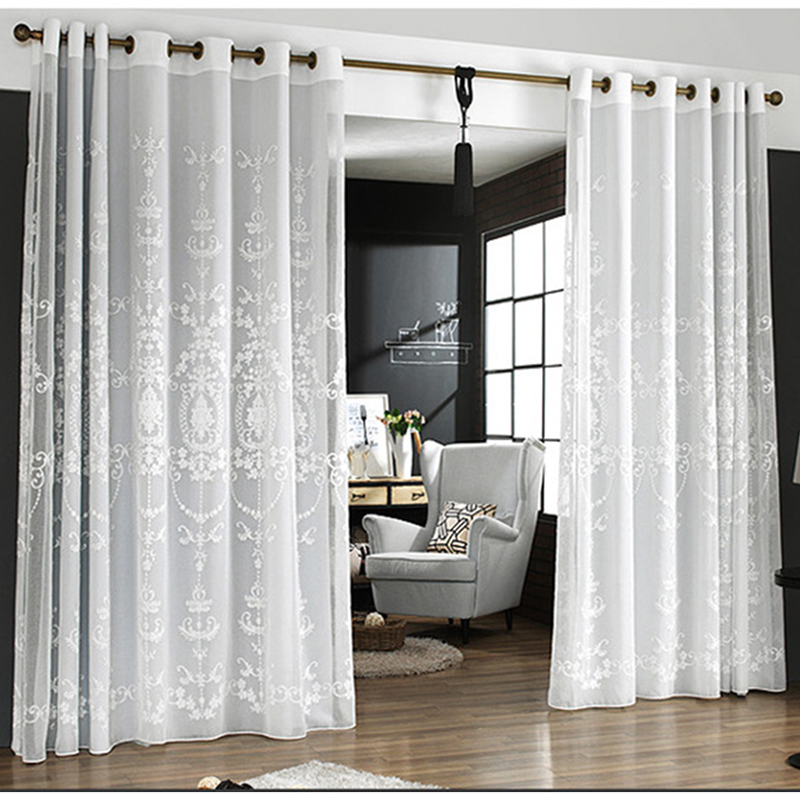 American Style Tulle Curtain 3d Embroidered White Curtains For Living Room Partition Furniture Decoration Kitchen