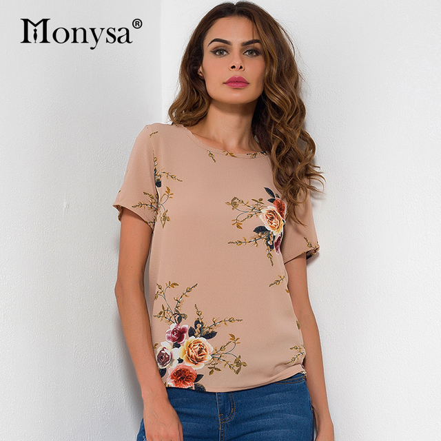 Short Sleeve Chiffon Blouse Women 2017 Summer New Arrival Flower Print Shirt Ladies O Neck Loose Casual Tops Womens Clothing