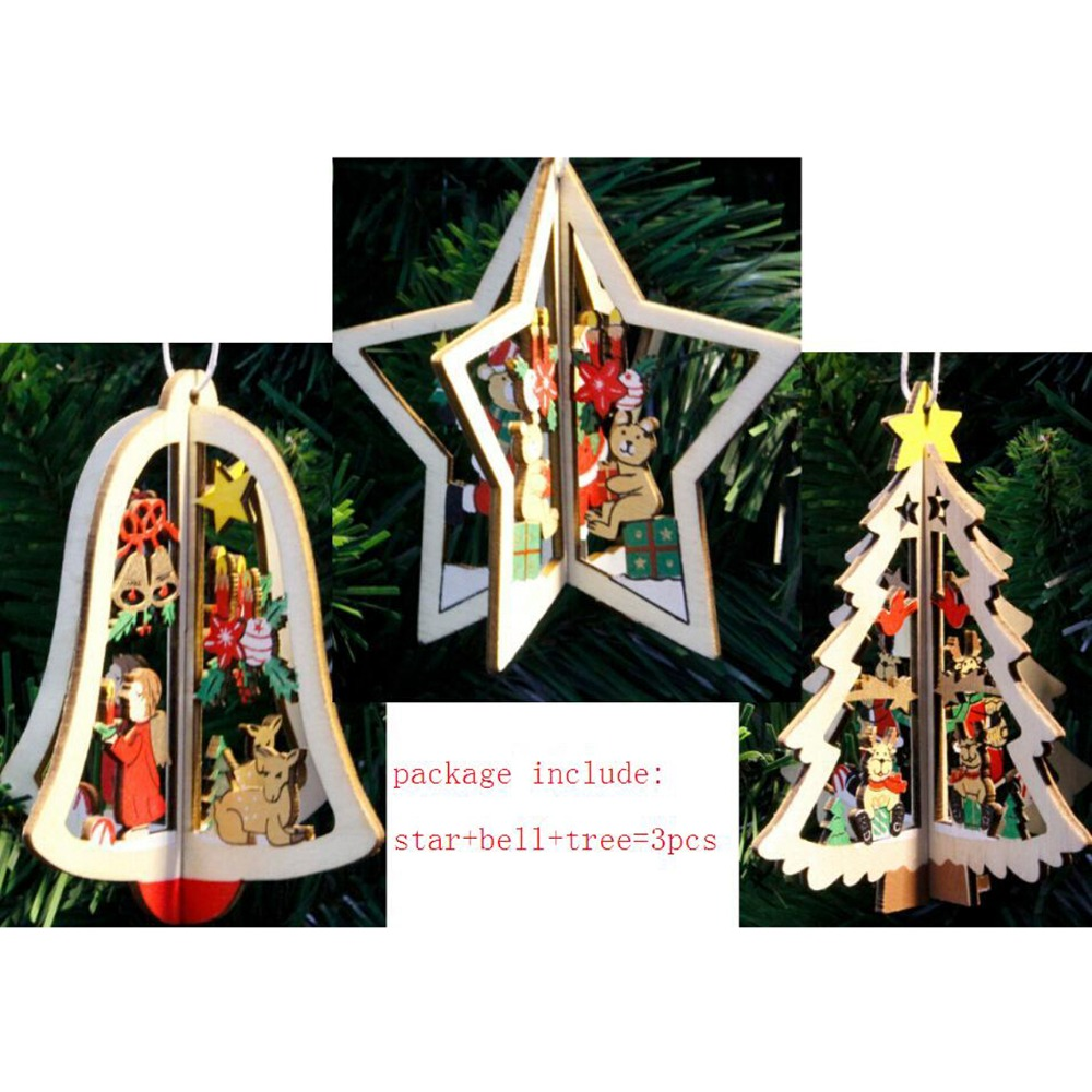 Wooden five star christmas tree christmas bell hanging for Hanging garden ornaments