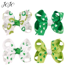 JOJO BOWS 4pcs DIY Craft Supplies Clover Printed Hair Bows For Kid Girl Headwear Clips Decoration Handmade Accessories