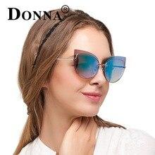 Donna женские металлические солнцезащитные очки кошачий глаз с ободком меньше зеркало солнцезащитные очки мода женские брендовые Дизайн кошачий глаз уникальный Стиль D108