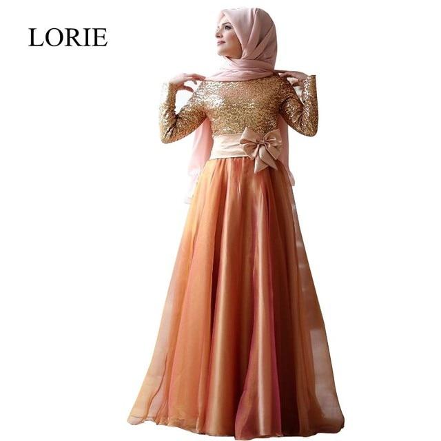 Caftan Dubai Gold Sequin Long Sleeve Muslim Evening Dresses 2016 Sparkly  Kaftan Long Prom Dresses With 6a3b39256cf6