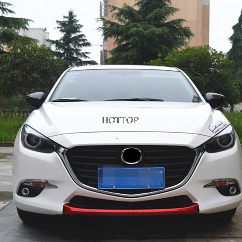HOTTOP car-styling Lower front bumper grille trim decorative body modification highlight bar axela 2017 For Mazda 3 car styling for mazda 6 m6 atenza 2014 2017 front bumper lower grille protector plate lip cover sticker trim decorative strip
