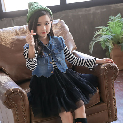 2018 New Fashion Kids Baby Girls Clothes Set Toddler Girls Princess Long Sleeve Striped Sleeveless Dress + Denim Vest Outfits 12