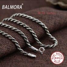 Balmora 100% реального стерлингового серебра 925 Винтаж Цепи Ожерелья для Для мужчин мужской ювелирные изделия Аксессуары bijoux 18-32 дюйм(ов) CK0056