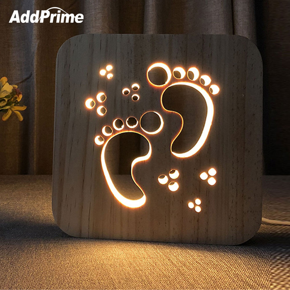 LED Table Lamp For Children Baby Room Decor Creative Hollow Carving Wood Bedside Desk Lamp Wooden USB Night Lights For Kids Room novelty wooden base night lights table lamps desk bedside lamp for home decor starry led night light lamp for christmas gifts