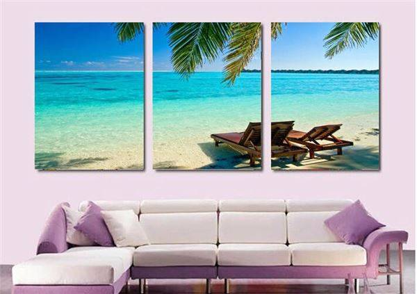 3 Panel Modern Painting Home Decorative Art Picture Paint On Canvas Prints Picture Beautful Beach Coconut Tree Painting T/294