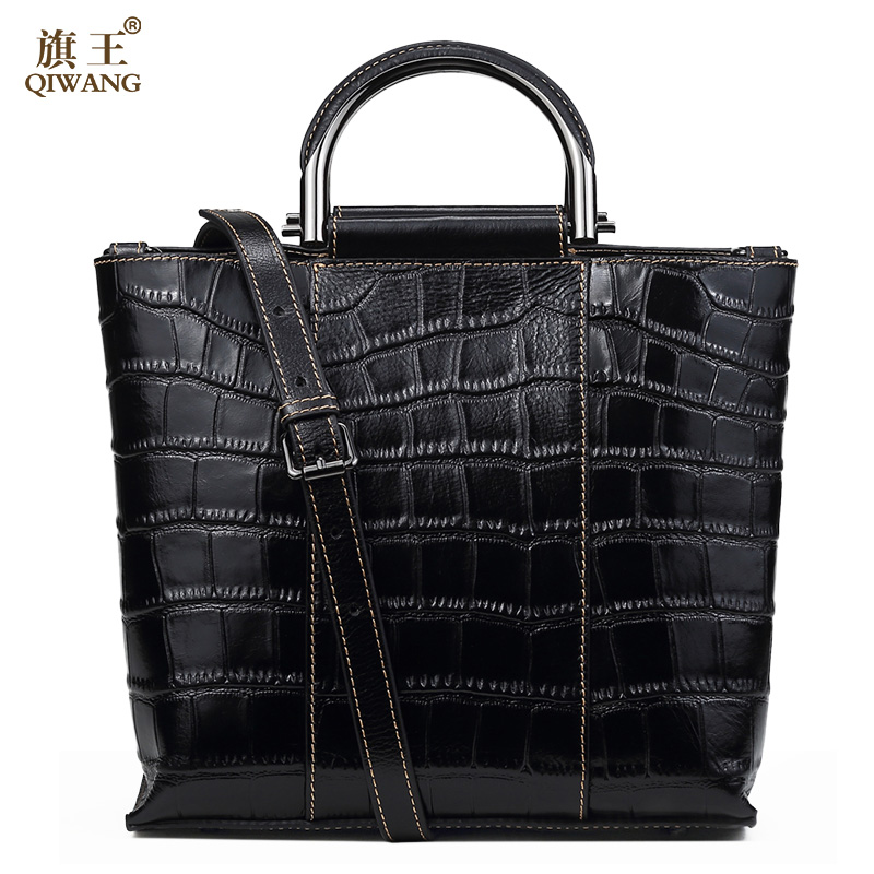 Qiwang 100% Genuine Leather Handbags Women Crocodile Handbag Messenger Shoulder Bags First Layer Cowhide Bag Metal Handle 100% genuine leather women bags famous brand women messenger bags first layer cowhide shoulder bags women ladies handbags