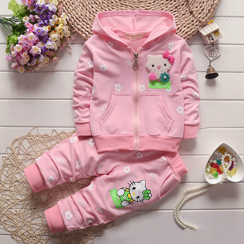 Hello Kitty Children Clothing Set for Girls Baby Clothes Sports Suit Hoodies Pant Kids Baby Sweatshirt Christmas Costume 2016 new year girls mickey pajamas suit for 2 7years children nightgown pyjamas kids hello kitty minnie christmas pijamas