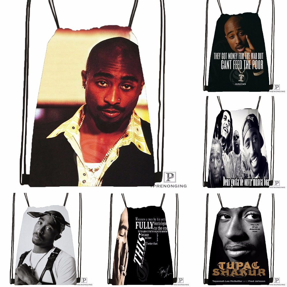 Custom Tupac Artwork Drawstring Backpack Bag Gift Bags For Man Woman Cute Daypack Kids Satchel (Black Back) 31x40cm#180531-01-01