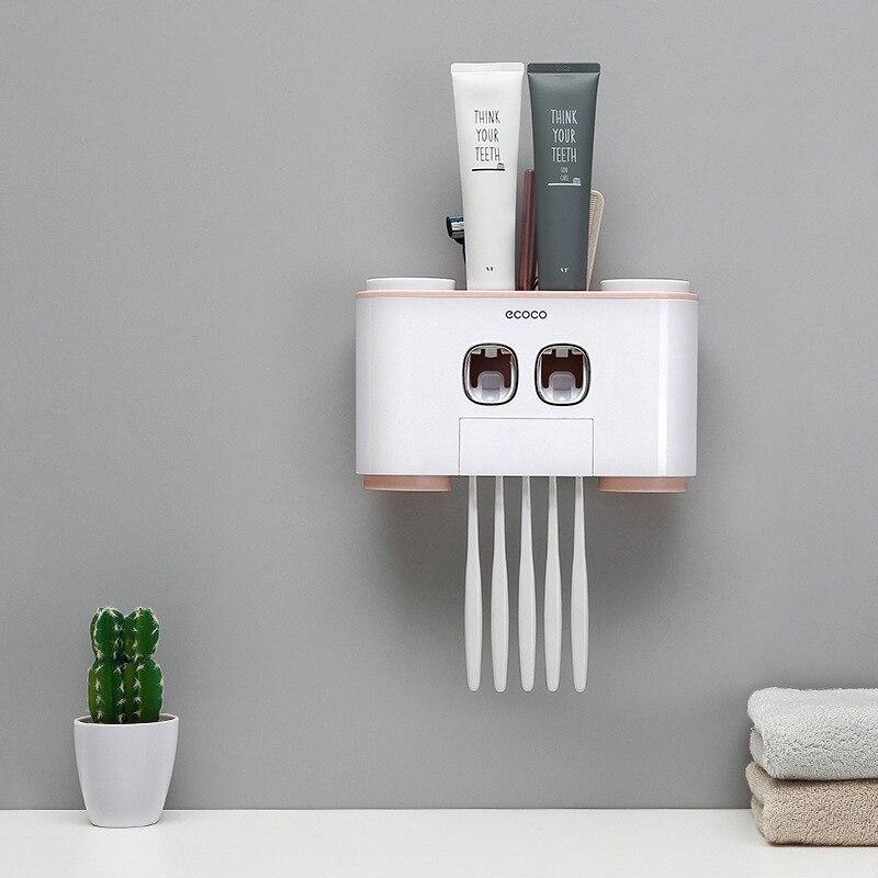2018 Nouvelle Arrivée Haute Qualité Brosse À Dents lavage de support kit Quatre-port automatique squeeze dentifrice Salle De Bains accessoire