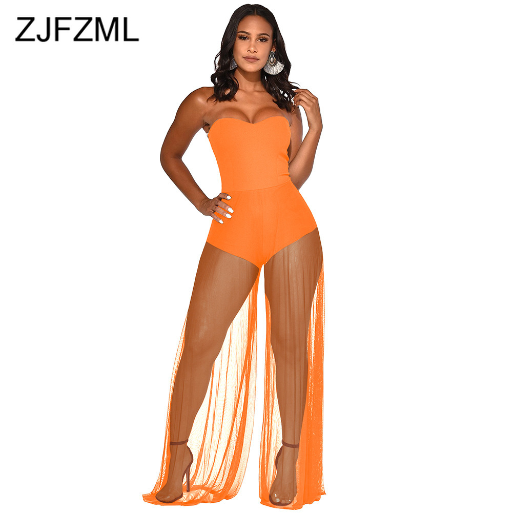 Sheer Mesh Patchwork Sexy   Jumpsuit   Women Off Shoulder Backless Wide Leg Bodysuit Summer Strapless Sleeveless See Through Romper