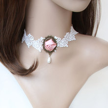 Lolita Gothic Bridal White Lace Choker Short Necklace Handmade Pink Flower Rose Drop Beads Pendant Fashion Jewelry
