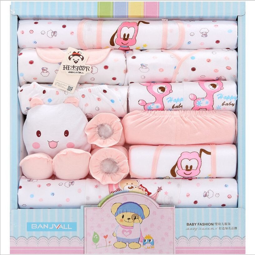 100% Cotton New Summer Baby Girl Clothes Character Baby Set O-Neck Long Sleeve Newborn Baby Boy Blothes 18 Piece baby rompers o neck 100