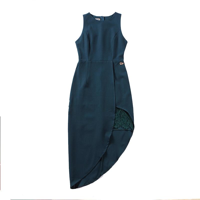 Le palais vintage 2018 été coupe irrégulière robe dentelle fentes latérales Slim taille haute sans manches fermeture éclair patte robe Logo décor - 2