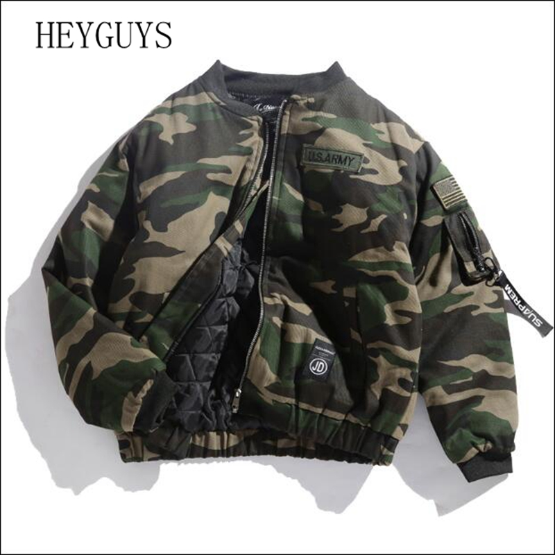 2018 Japane Brand Men Bomber Jacket Camouflage Flag Embroidered Badge Military Thick Loose Outerwear Army Green Padded Coats High Quality Goods