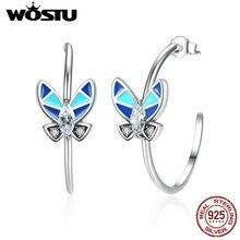 Alta Calidad 100% Pendientes de Gota de Plata de Ley 925 Mariposa Azul Para Mujer Auténtica Moda Europea Regalo de La Joyería