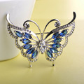 Mechosen moda ajuste del diente cristales verde rhinestone broche de mariposa ramillete de bodas de oro chapado mujeres sombreros traje de broches