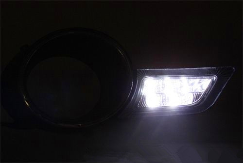 Free shipping Fog Driving Lamp Cover w/ LED DRL Daytime Running Light For 2008-2010 Highlander