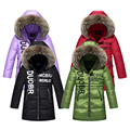 Boys Winter Jackets Letter Fur Hooded Down Parka Kids Cotton Thicken  Coats For Girls Warm Outerwear 5-13 Years Kids Clothes