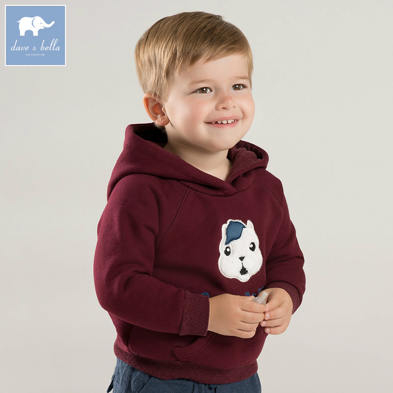 DBW8576 dave bella autumn baby boys long sleeve clothes children hooded t-shirt boys high quality tee kids fashion tops цена 2017