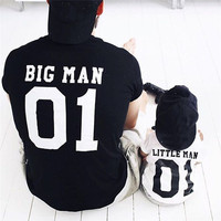 Spring Summer Family Matching Clothes Dad Son Outfits Cotton Solid Color Printed Big Man Little Man