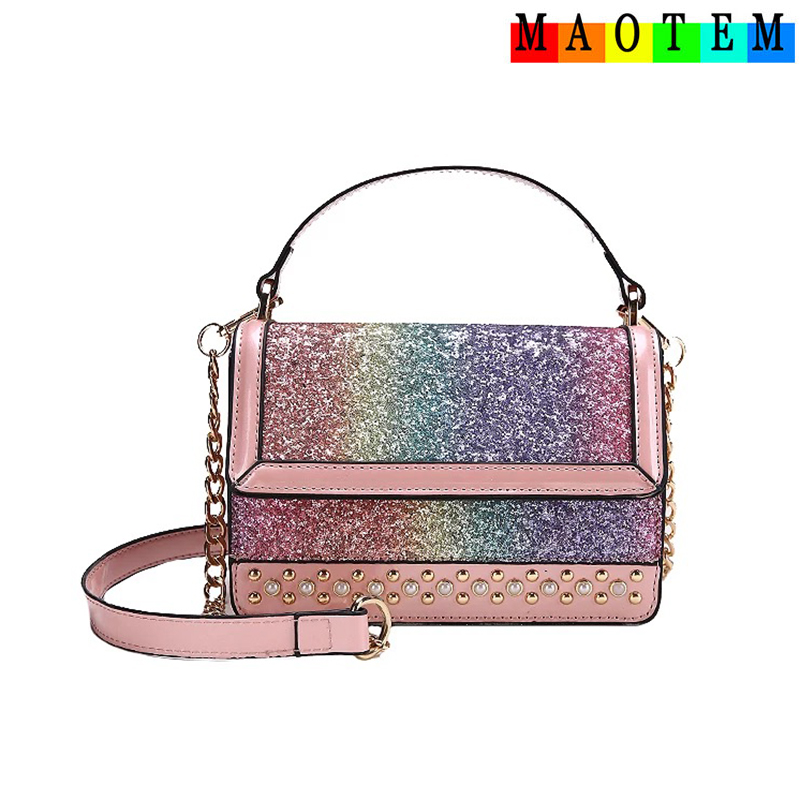 MAOTEM 2018 New Women Small Cute Chains Messenger Bags,Summer Pink River Crossbody Bag,Rainbow Bling Top-Hand Flap Bag
