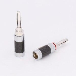 Image 3 - 8 stücke Hifi Banana Jack Hohe Qualität Carbon Fiber Rhodiniert Lautsprecher Kabel Banana Stecker