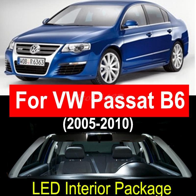 9pieces Canbus Error Free White Car LED Light Bulbs Interior Package Kit for VW Volkswagen Passat B6 2005-2010