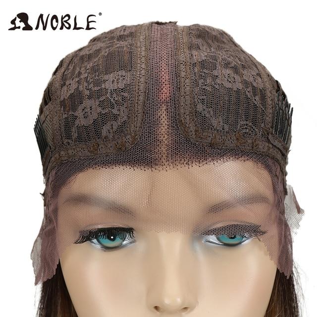 Peluca de encaje de pelo Noble de 10 pulgadas, pelucas rectas cortas de Color 1B para mujeres negras, pelucas sintéticas, peluca frontal de encaje Rubio degradado