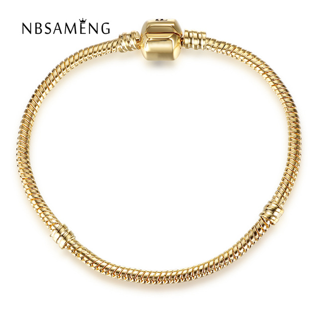 Real Original 925 Sterling Silver Gold Color Barrel Clasp Snake Chain Basic Bracelet Bangle Fit Pan Women Bead Charm DIY JewelryReal Original 925 Sterling Silver Gold Color Barrel Clasp Snake Chain Basic Bracelet Bangle Fit Pan Women Bead Charm DIY Jewelry