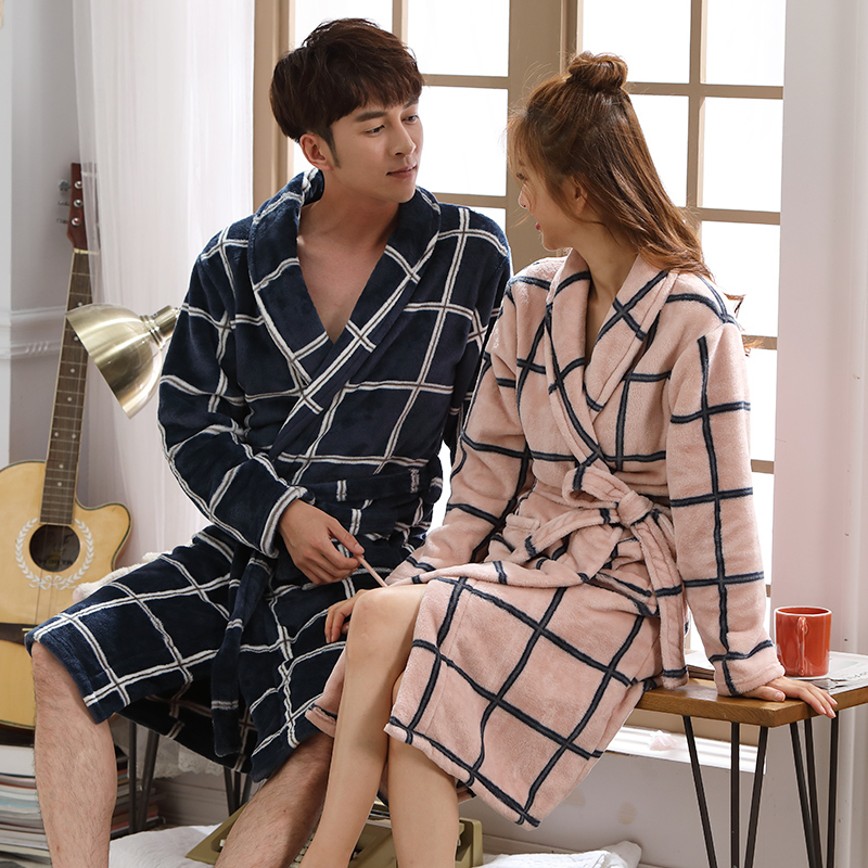 Bath Robe Women Men Winter Warm Coral Fleece Couple Bathrobe Nightgown Kimono Floral Dressing Gown Sleepwear Female Home Clothes