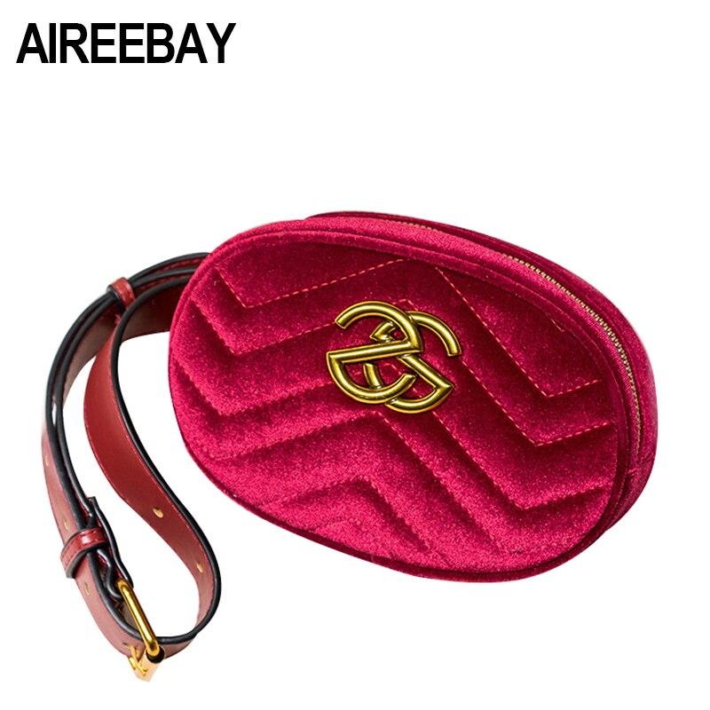 AIREEBAY 2018 New Leather Velvet Female Waist Packs Red Luxury Brand Women Fanny Bag Fashion Designer HandBags for Ladies