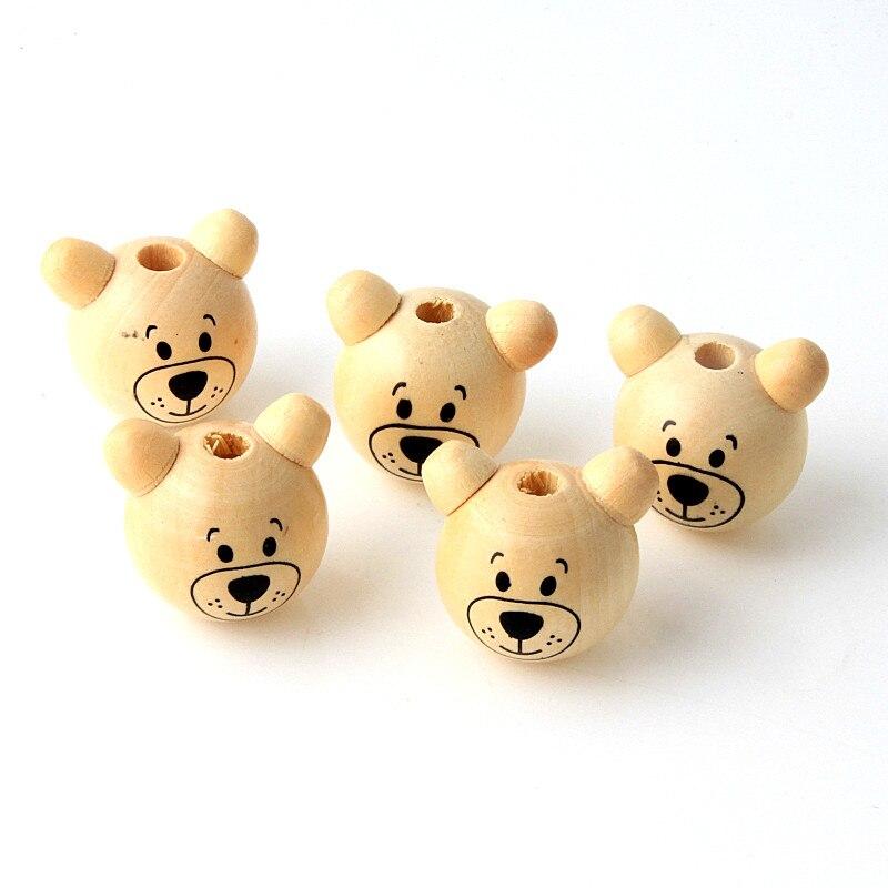 5 шт. деревянные Мультяшные 3D Шарики медведя улыбающееся лицо деревянные бусины DIY соска зажим и ювелирные изделия для детей Детские бусины ...