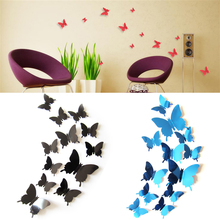 купить 12Pcs Butterflies Wall Sticker Decals Stickers on the wall New Year Home Decorations 3D Butterfly PVC Wallpaper for living room по цене 60.57 рублей