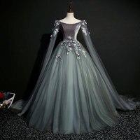 100% Настоящее темно серый 18th века коронации косплэй бальное платье Средневековый Ренессанс королева викторианская красавица бальное